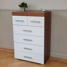Chest of 4+2 Drawers in White & Walnut Bedroom Furniture Modern 6 Drawer * NEW *