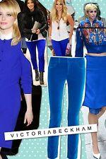 Victoria Beckham Royal Blue Velvet Trousers Size 29