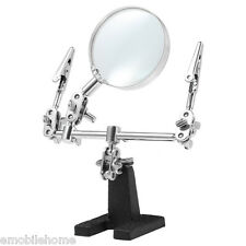Helping Hand Magnifier Glass 2 Alligator Clamps Loupe Jewelry Watch Repair Tools