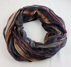 Striped scarf rectangle lightweight silk polyester blend