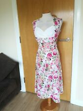 Ladies Dress Size 14 Pink White Fit and Flare 50s Party Wedding