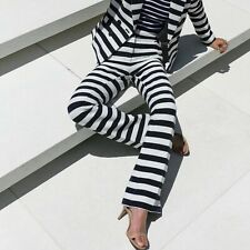 Halogen Stripe Nautical Sailor High Waisted Flare Pants