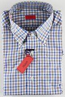 NWT ISAIA DRESS SHIRT check white blue brown luxury handmade Italy 40 15 3/4