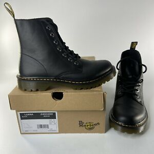 Dr. Martens Luana Black Leather Combat Boots DOC Womens Size US 8 With Box Cute