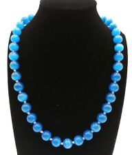 10mm Blue Mexican Opal Gemstone Round Beads Necklace 20 Inches