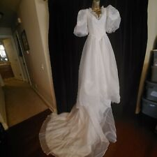 Vintage White 80's Wedding Dress & Veil 6ft Train Poofy Sleeve Beaded Sequins S