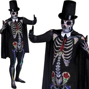 MENS DAY OF THE DEAD COSTUME MR SKELETON COSTUME TOP HAT HALLOWEEN FANCY DRESS