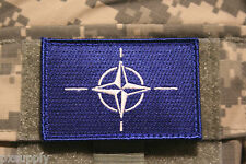 "nato flag patch embroidered hook and loop backing otan tactical 3"" x 2"""
