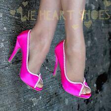 Ladies Satin Evening Shoes Peep toe diamante trim Party High Heel Bridal size