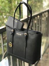 Michael Kors Women Small Leather Shoulder Tote Handbag Purse Bag Black +WALLET