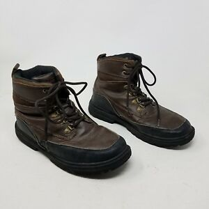 London Fog LFM Camden Hiking Boots Brown Leather Insulated Lace Up Mens sz 9 US