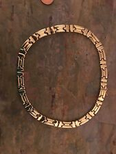14 KT Yellow Gold Stampato Link Patterned Collar Necklace WIDE Heavy 10 MM Estat