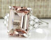 Huge Morganite Women 925 Silver Gemstone Ring Engagement Wedding Jewelry sz6-10