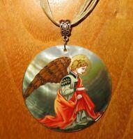 Filippo Lippi Pendant The Annunciation fragment Angel Hand Painted Shell Zemina