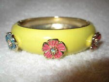 Betsey Johnson Yellow Enamel Pink Blue Flowers Hinge Bangle Bracelet -Superb!