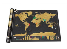 World Travel Map Poster Luckies Big Deluxe Edition Scratch Off  Black Gold NIB