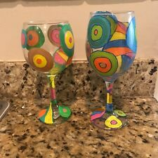 Hand Painted Wine Glass RETRO Multi colored  PERSONALIZED and customized