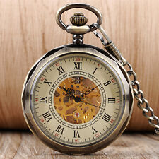 Antique Roman Numerals Open Face Hand Winding Mechanical Pocket Watch Chain Gift
