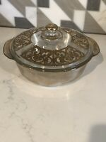 Gold Encrusted Fire-King Georges Briard 2 Quart Casserole Dish Signed W Lid
