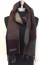 NEW Men 100%CASHMERE SCARF Check Plaid Scotland Soft Warm Wrap Brown/Black/gray