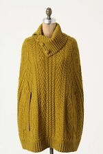 NWT Anthropologie Cabled Cocoon Turtleneck Wool Sweater Amazing 5 Stars Size S/M