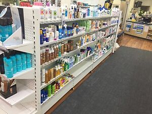 Pharmacy Shelving 1400Hx900Lx650D 4 x Double Sided + 2 end bays 4.5m Span