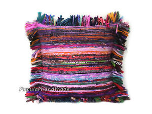 Multicolor Cotton Chindi Pillow Cover Indian Handmade Sofa Decor Cushion Covers