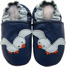 carozoo seagull blue 5-6y  soft sole leather kids shoes/slippers
