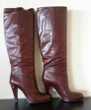 Authentic GUCCI Brown Chocolate Leather PULL ON Tall Boots Shoes 38.5 8.5
