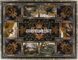 Antique Marble Hallway Table Inlaid Unique Design Arts Occasional Decor H4020