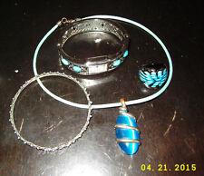 Blue Charm Murano Lampwork Glass Ring Glass choker Silver bangle fashion watch