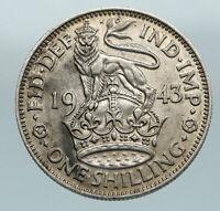1943 Great Britain UK King George VI United Kingdom SILVER SHILLING Coin i84606