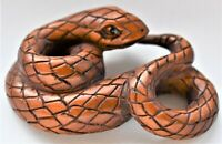 Antique Netsuke Japanese Snake Intricately Carved Boxwood Signed 5cm wide