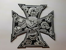 IRON CROSS WITH SKULLS iron on or sew on biker patch 14cm x 14cm large