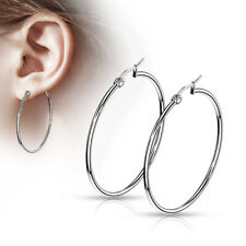 PAIR of Round Hoop Earrings Silver Color 22g 316L Stainless Steel