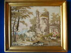 Fine19thc needlewor/tapestry of a classical scene castle ruins figures &animals