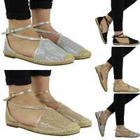 Women's Espadrille Flat Sandals Summer Ankle Strap Summer Beach Pump Shoes Size