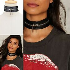 Gothic Women Black Leather Harajuku Choker  Necklace Metal Zipper Jewelry