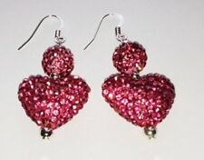 SHAMBALLA BRIGHT PINK HEART DROP EARRINGS WITH AUSTRIAN CRYSTAL DISCO BEAD-UK