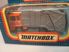 1987 MATCHBOX SUPERFAST #36 ORANGE REFUSE TRUCK GRAY BACK MIB