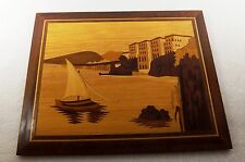 VINTAGE MARQUETRY INLAID WOOD WOODEN SCENIC SAILBOAT PICTURE WALL ART 11 1/2""