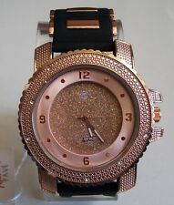 Men's Techno Pave Hip Hop Rose Gold/Black Silicon Band Fashion Wrist Watch