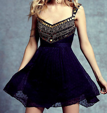 Free People Indigo Jeweled Chevron Coin Beaded Back Cut Out Mini Party Dress sz4