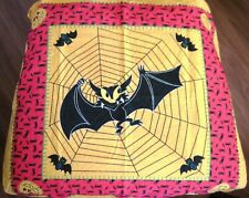"Fantastic Vintage ""Halloween Scarf"" w/ Large Bat Caught In Spider Web    *"