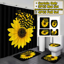 Waterproof Sunflower Butterfly Print Bathroom Shower Curtain Toilet Cover Decor