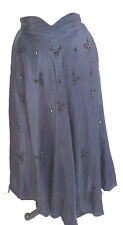 long Blue true vintage circle skirt beaded sequin size small theatre costume