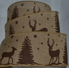 """Wired Ribbon~Christmas Deer~Buck~Doe~Pine~Rustic Woven Tan~Holiday~2.5""""~Gift~Bow"""