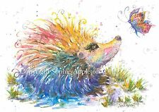 Watercolour Painting HAPPY HEDGEHOG by Sophie Appleton A4 ArtPrint from Original