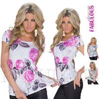 New Sexy Women's European Floral Print Top Blouse Shirt Size 10 12 14 / M L XL