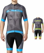 FDX Mens Classic Cycling Jersey Race fit Gel Padded Bib Shorts Cycling Combo set
